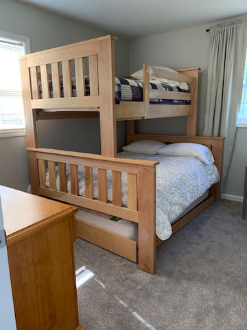 2nd bedroom, twin over double with dresser. Trundle bed is not available for use due to space.