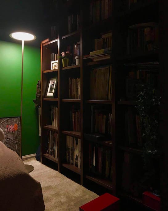 bed and reading room.