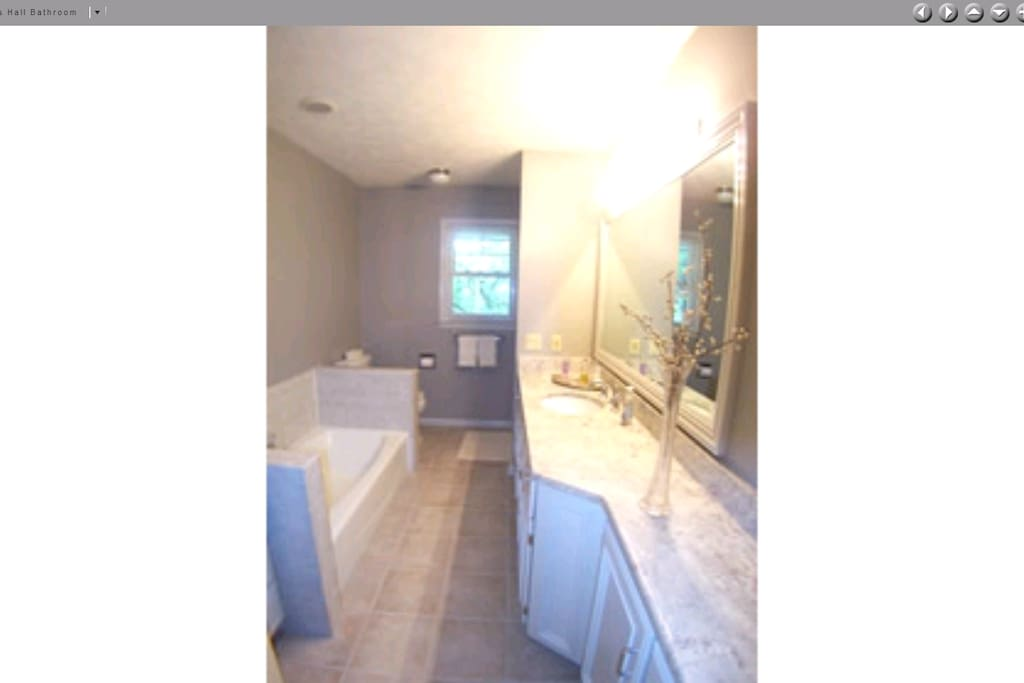Separate bathroom with both a tub and shower