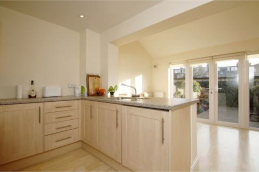 Light filled open plan kitchen / dining.