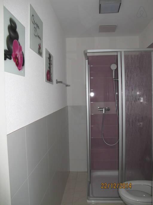 separate Dusche mit Toilette (Mitbenützung für zwei Zimmer )