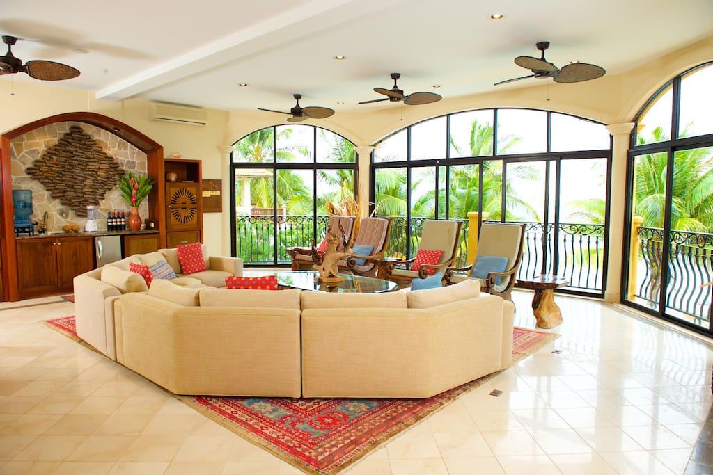 Living Room overlooks Pool and Caribbean Sea