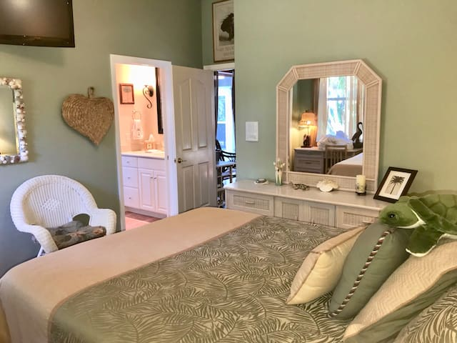 Turtle Room has queen bed and ensuite bath