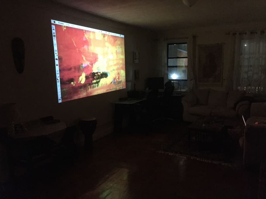 We have a projector that you can use to watch television via a laptop.