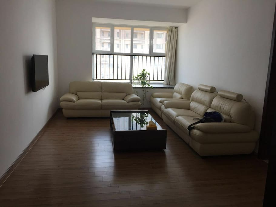 客厅,真皮品牌沙发,客厅大飘窗可躺一人,阳台与大海零距离接触!