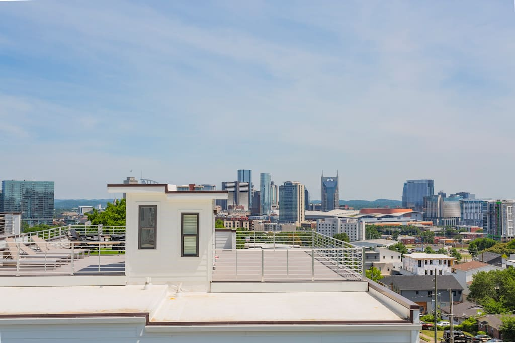 View of downtown from our rooftop deck!