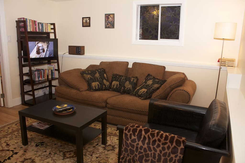 View of LR showing bookshelf, TV, couch, chair and coffee table.