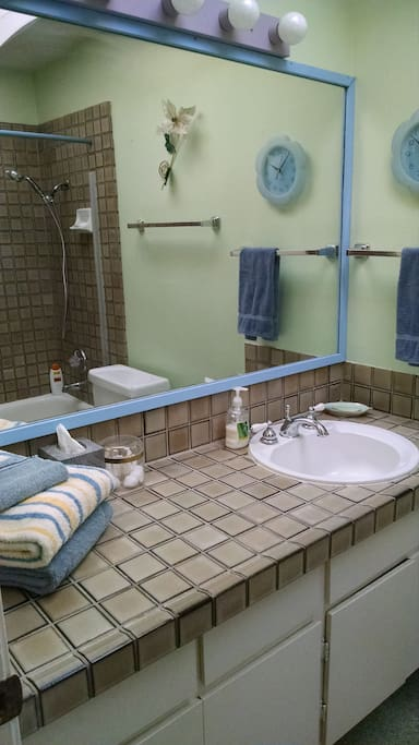 Dedicated bathroom with shower and tub just down the hall.