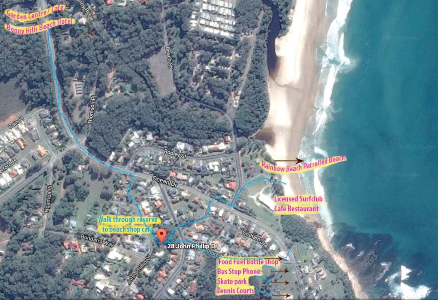 Map showing easy walking access to beach, shop and cafe.