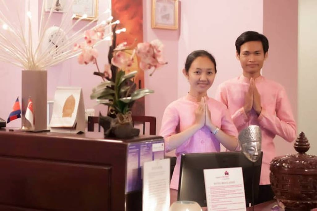 The 'award winning' staffs. 'Best Services' Award 2014 by Ministry of Tourism Cambodia.