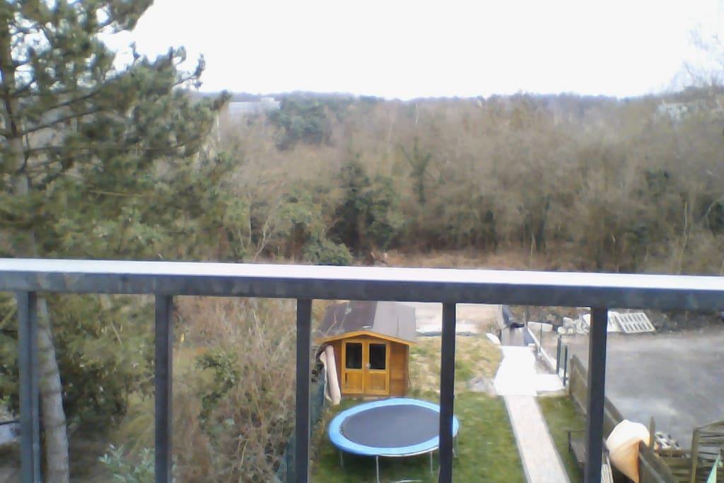 Ausblick in den Garten vom französiscchen Balkon, Rauchmöglichkeit
