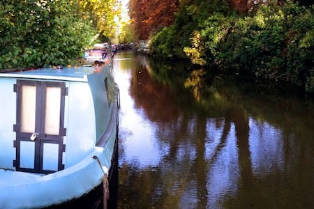 Narrowboat on idyllic Oxford Canal  - Oxford  - Boot