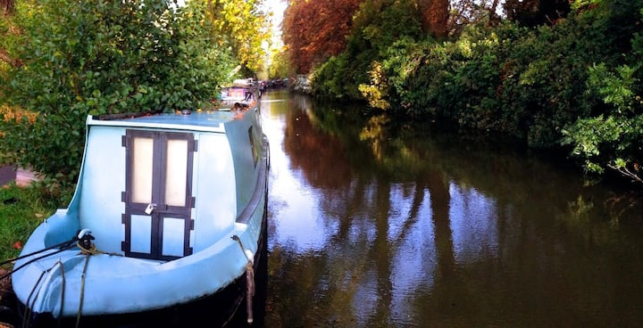 Charming narrowboat on pretty canal