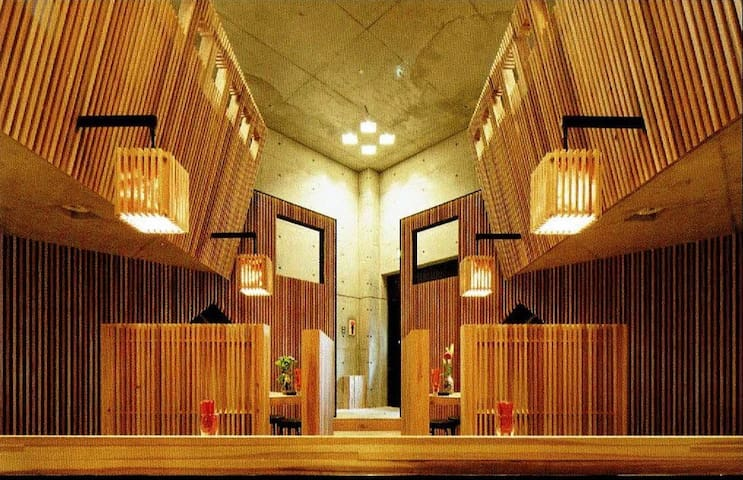 japanese style. Concrete striking wall and wood