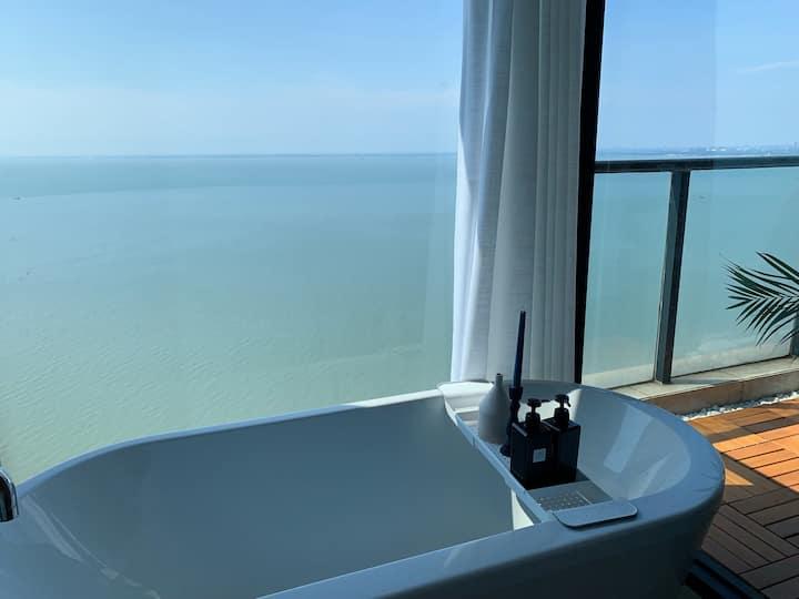 【屿居】高层180度海景大浴缸|北部湾一号