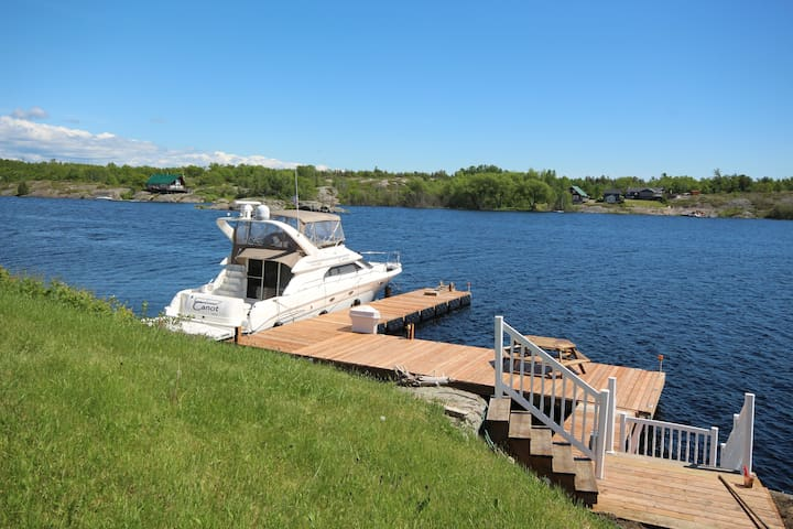 Wonderful Dock, deep water with 2 ladders to get back on the dock.  the boat is NOT included, but please bring your own boat!!  And have FUN!!