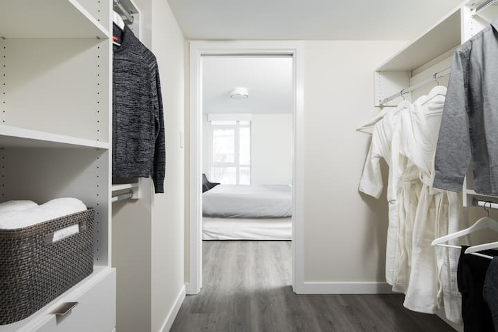 your master bedroom walk through closet will make living out of a suitcase a thing of the past.