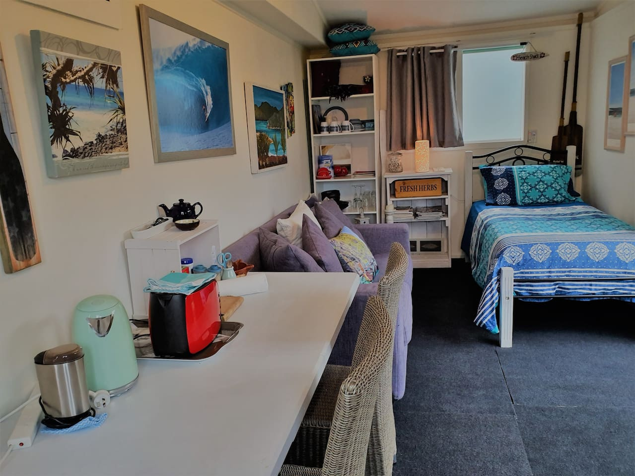The Lake Room is a private, light & warm space just across the road from Lake Rotoma. A camping toilet is located in the adjacent space with the main bathroom in the house. Big ranch slider opens to let the sun/air in. Heating in winter, a fan too.