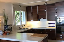 Open space, fully equipped kitchen with lake view
