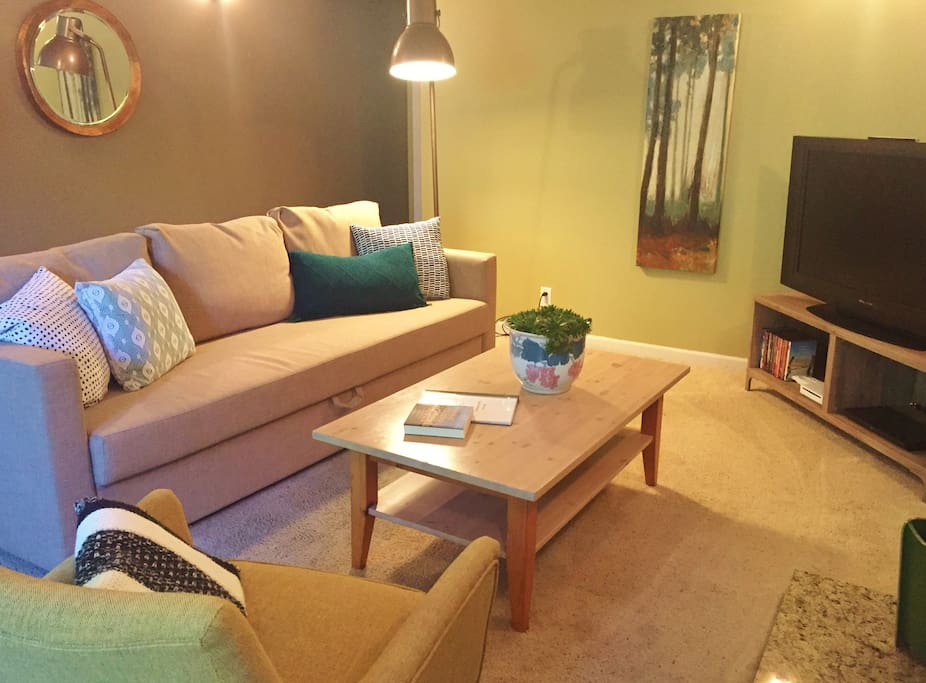 The living room is warm and spacious, with flat-screen TV w/ Amazon Prime and Netflix, DVD player and ample movies for both kids, teens and grown ups.