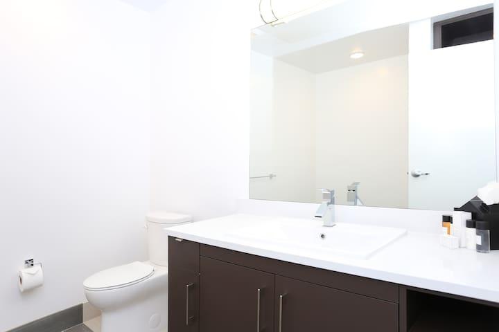 The Half bathroom downstairs