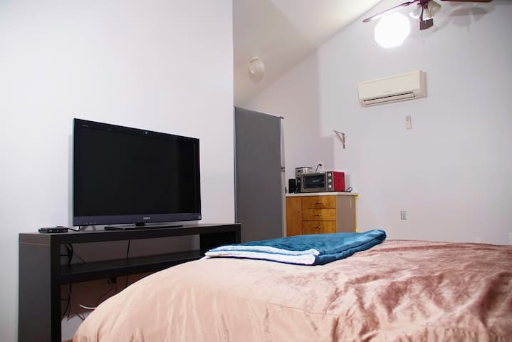 Television is equipped with cable! There will also be a work desk placed for you before you arrive.
