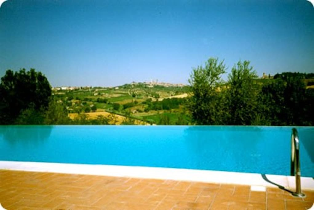 The infinity pool with a great view of San Gimignano.