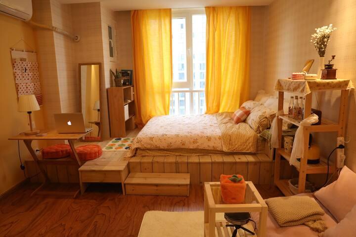 「理想屋」万达广场|韩式温馨阳光房|江景房|情侣公寓|影院房|可做饭