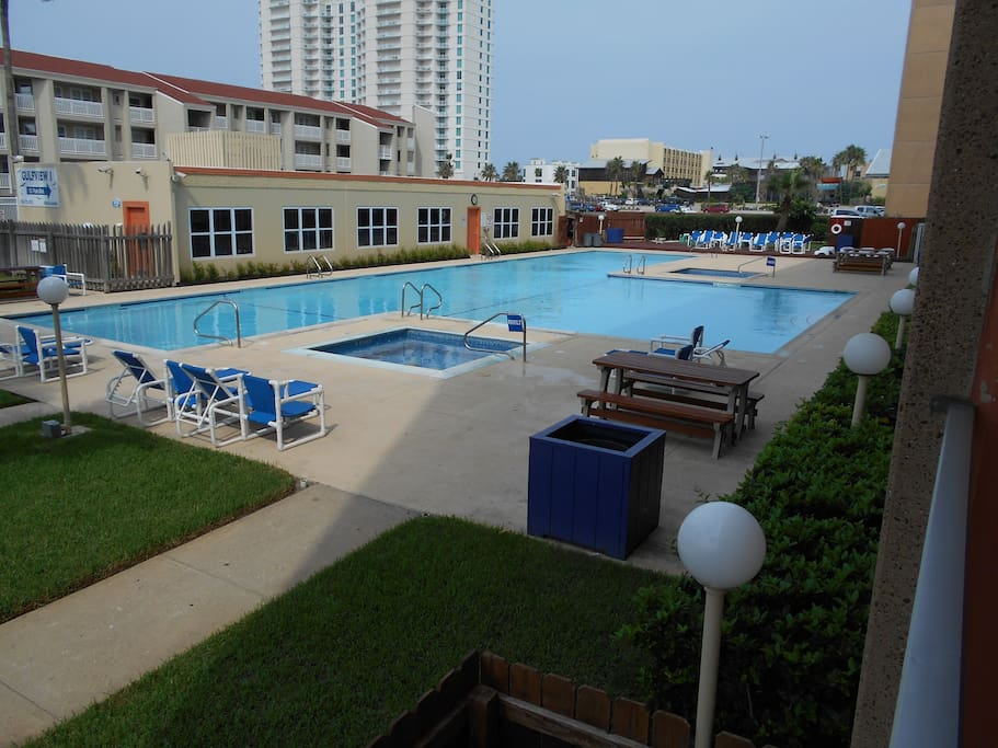 pool, jacuzzi area and view from the balcony