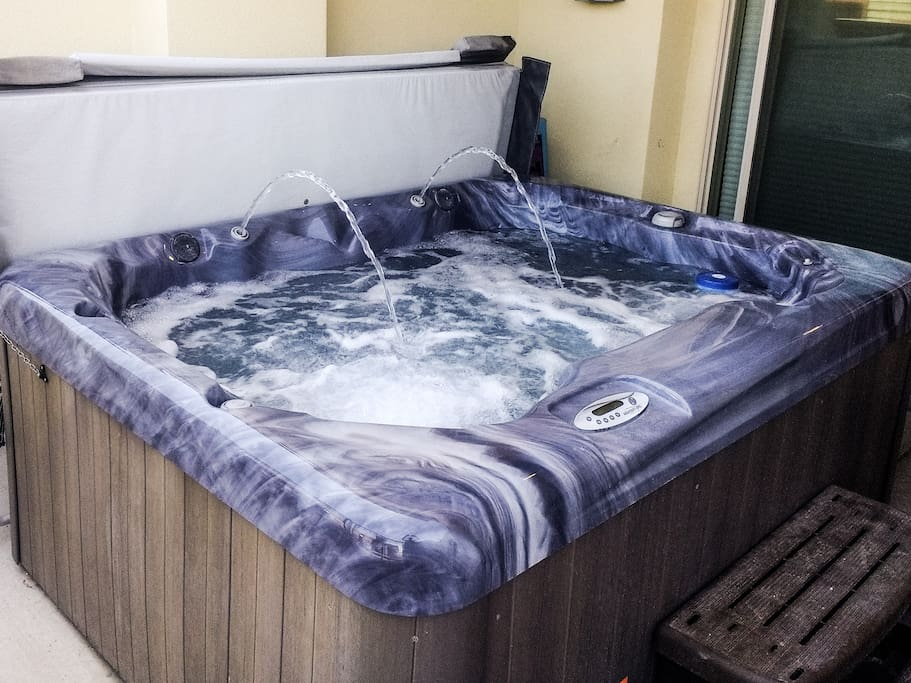 Soak and relax in your own private hot tub.