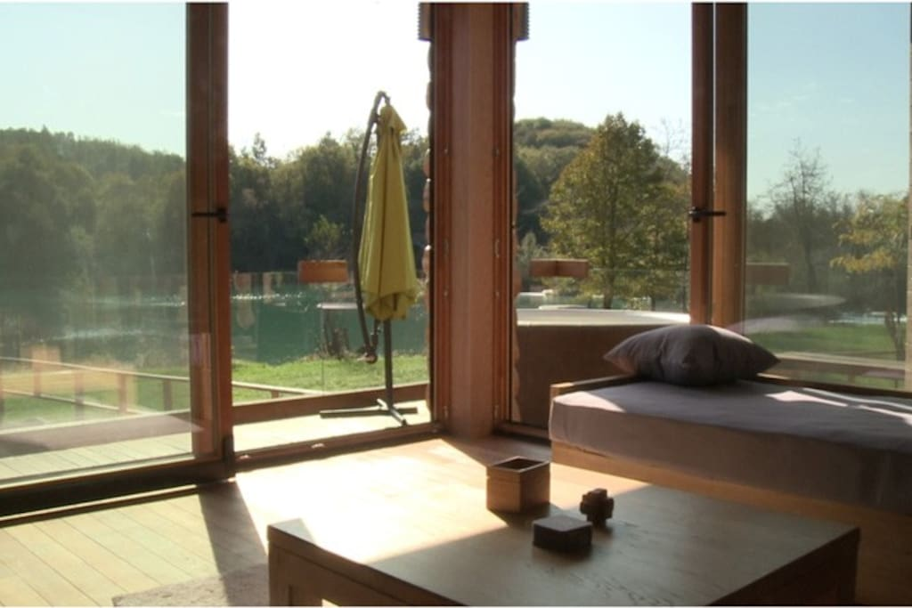 Living room with view on river Mreznica