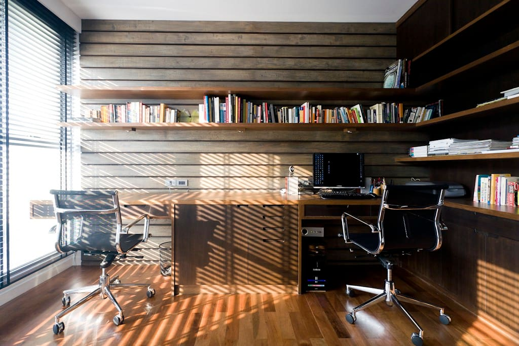 One bedroom is a home office. Great space to work. Tons of books on architecture