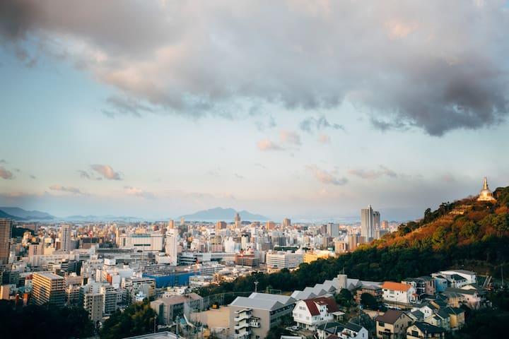 Stunning views over Hiroshima behind Hiroshima Stn
