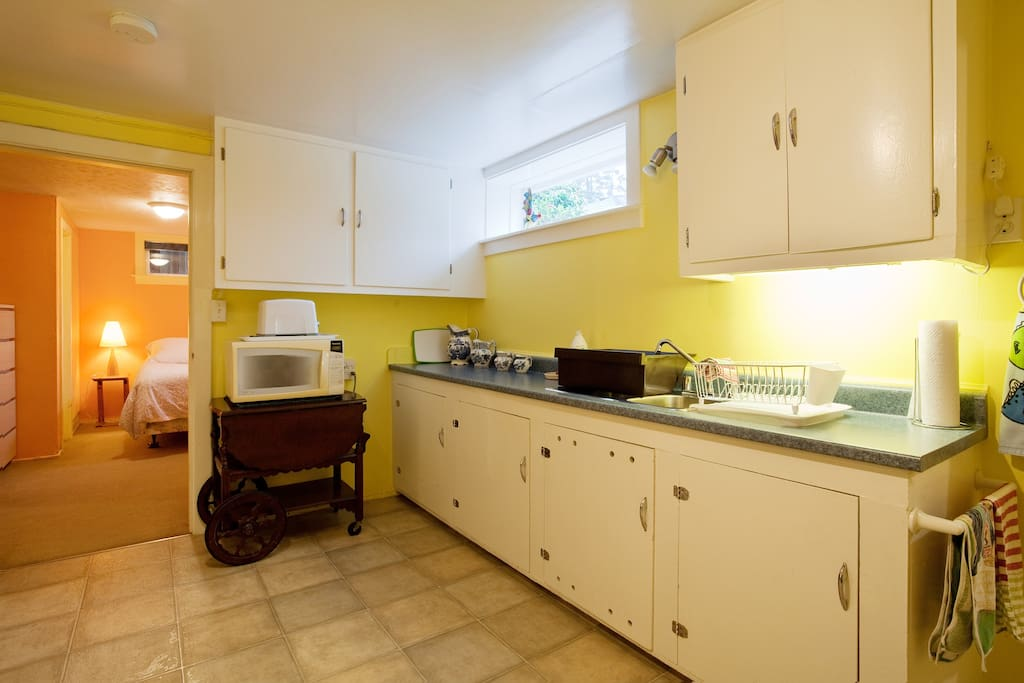 Full equipped kitchen. View to BR.