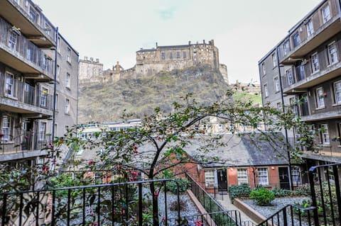 Grassmarket Approach:  below Edinburgh Castle rock