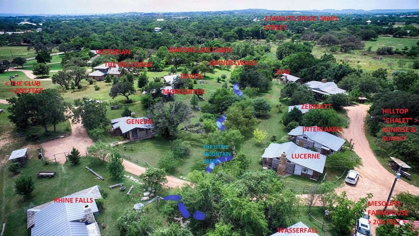 Aerial view of the entire Barons CreekSide Resort