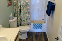 private bath; updated flooring