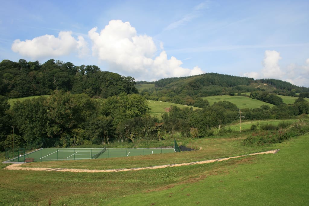Tennis Court with stunning countryside views