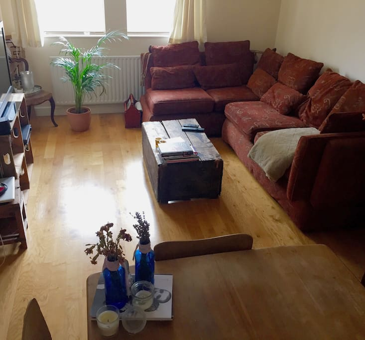 Large Living Room with comfy sofa for an extra guest or two ;)