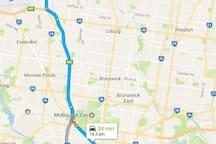 Route to Melbourne CBD via Car