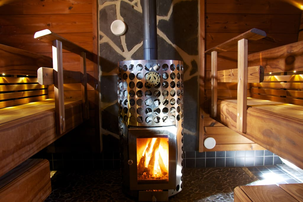 Enjoy the real wooden sauna, you can also listen to music in sauna, because there are speakers in sauna too!