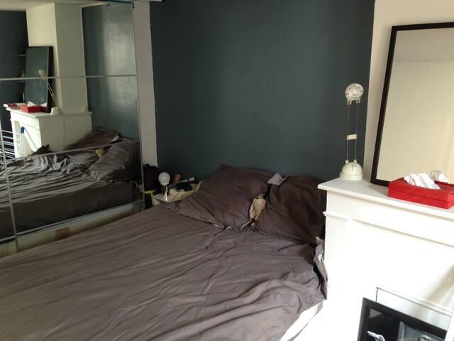 Chambre lit 2 places lumineuse / fonctionnelle (place disponible dans l'armoire)