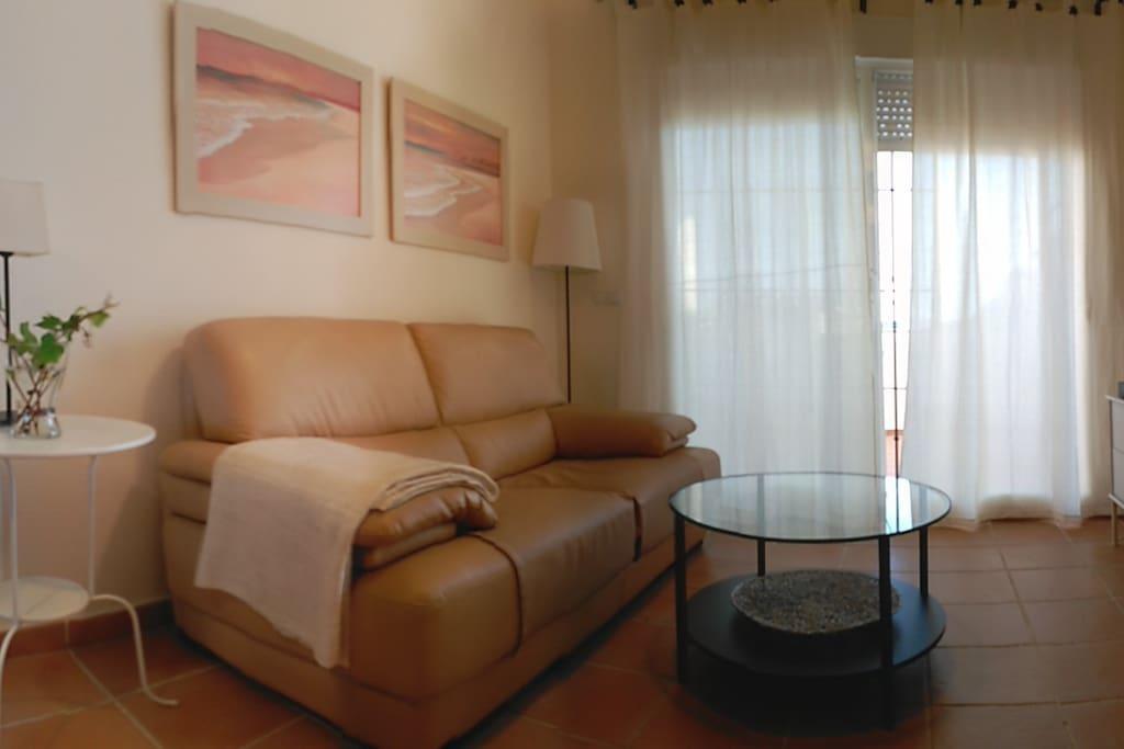 Comodísimo sofá de piel y televisor de pantalla plana.