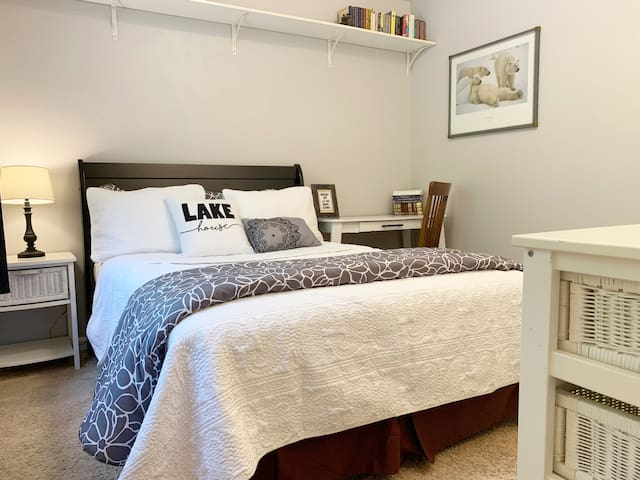 Rm 2~The Polar Bear Room has a great bed and Alaskana décor w/ a view of the lake and garden. To optimize your privacy, the other 2 rooms in this booking will remain empty unless your party uses them. Only your party will have access to your bath.