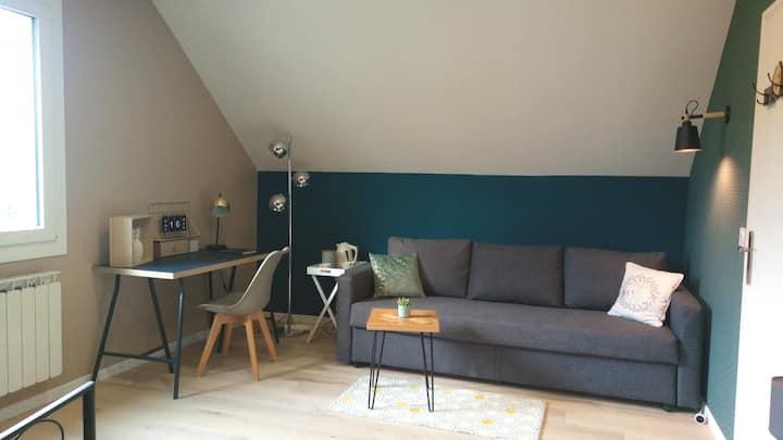 Chambre spacieuse dans maison calme avec jardin
