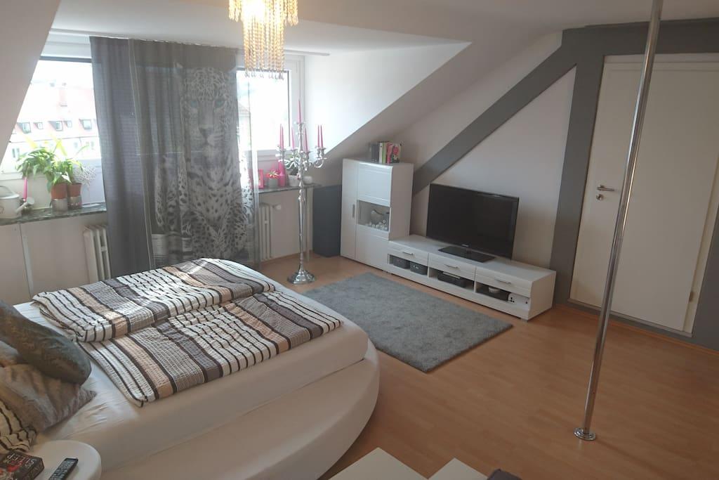 Schlafzimmer - große Fenster, TV, hell und freundlich