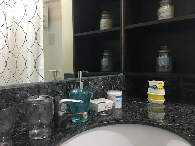 bathroom with handwash, toothpaste, cottonbuds, hair dryer and hand towels