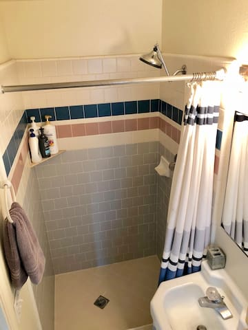 The bathroom future is a vintage tile shower. My favorite feature of this bathroom is the incredible water pressure in the shower! I provide shampoo conditioner and body wash in the shower.
