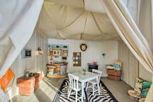This 4-bedroom, 3.5-bath home feature unique touches like the Safari Tent!