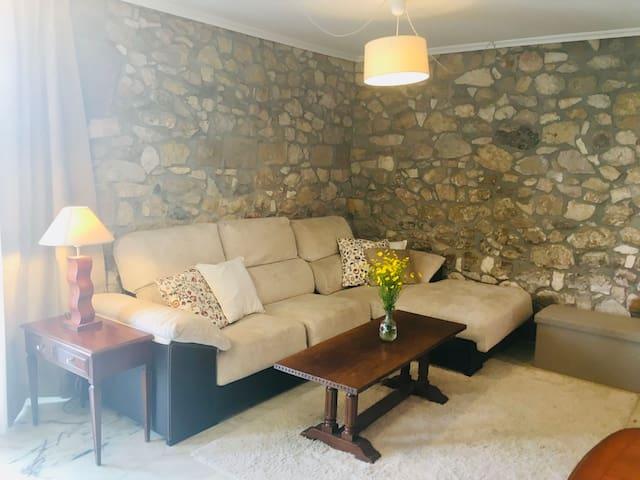 Precioso salón con TV de  65 pulgadas.